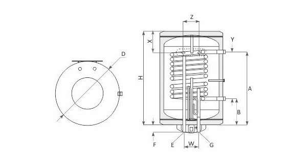 Chauffea-eau suspendu MB S1 avec simple échangeur