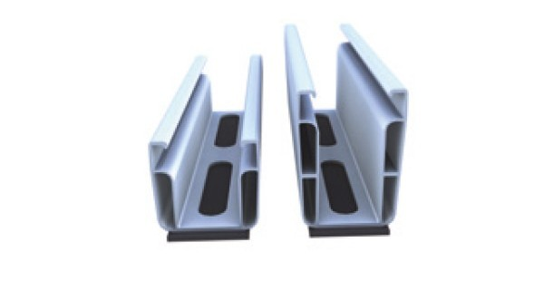 Mounting rail for trapezoidal roofs trapeze light+end claim