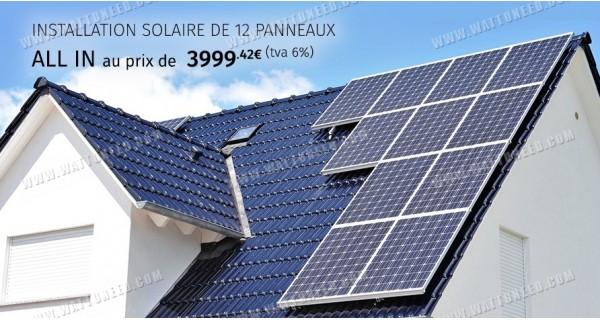 Installations solaire de 12 panneaux - 3kW