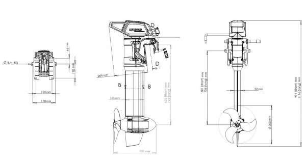 Schéma du moteur Torqeedo Cruise R 2.0