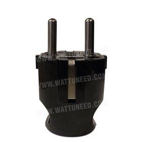 Fiche électrique mâle 2P+T 16A de couleur noire
