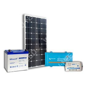 Solar kit 100Wc mono - 55Ah - 250VA with ground attachment kit offered