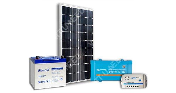 Kit solaire 100Wc mono - 55Ah - 250VA
