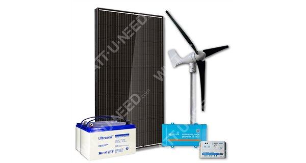 Kit 1 panneau 500VA avec éolienne et stockage