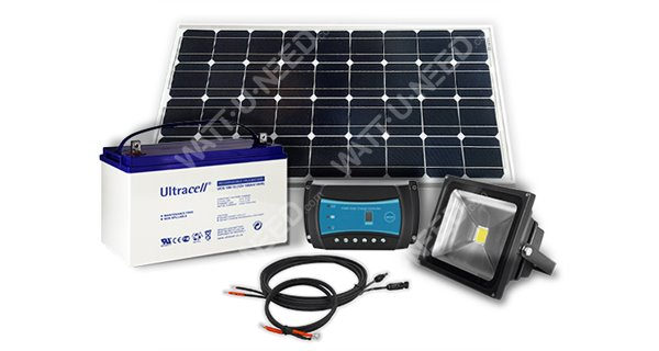 Kit éclairage autonome 100Wc - 12V avec spot LED 30W