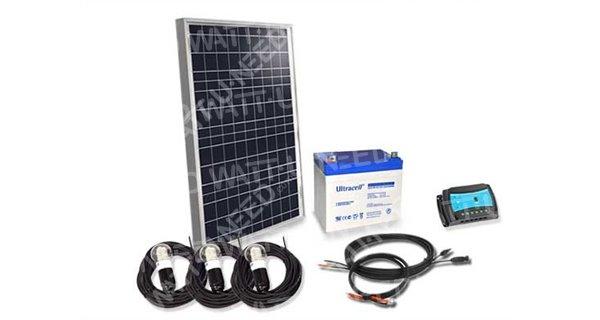 Kit éclairage autonome 50Wc - 12V avec 3 ampoules LED