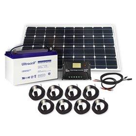 Solar lighting kit 100Wp - 55Ah - 12V with 8 LED bulbs