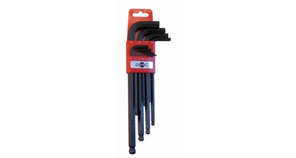 Set of 10 Allen wrench on plastic plated handel OUTILAC
