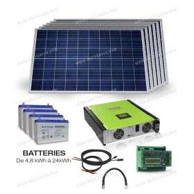 Hybrid grid connected with battery kit - 5000W