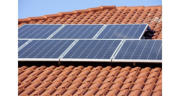 solar panels on roof tiles