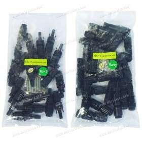 Pack de 20 connecteurs type MC4 mâle et femelle