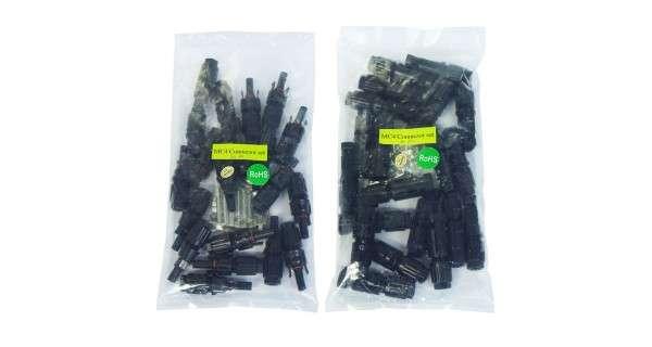 Pack de 20 connecteurs MC4 mâle et femelle