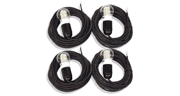 4X Câble de 5m avec ampoule LED 4W