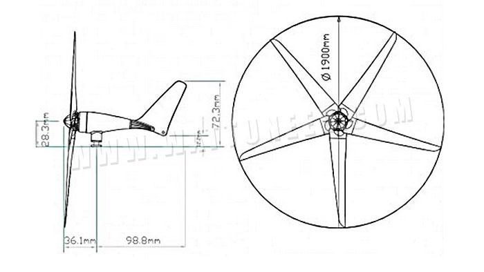 dimensions et schéma technique de l'éolienne 2000 de Newmeil