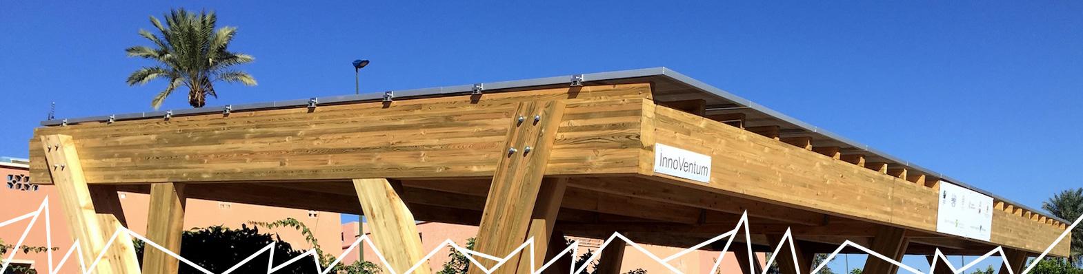Wooden solar carport structure