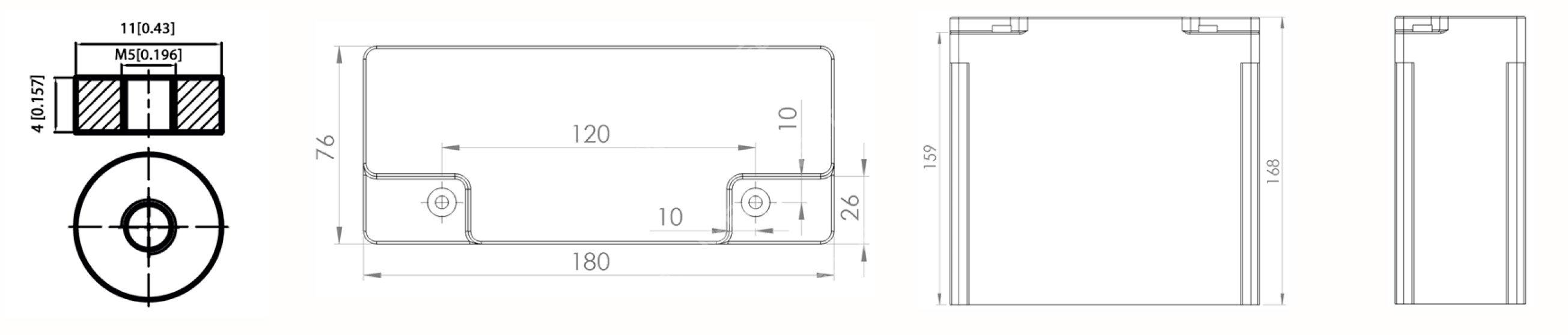 Dimensions PowerBrick+ 12V 30Ah