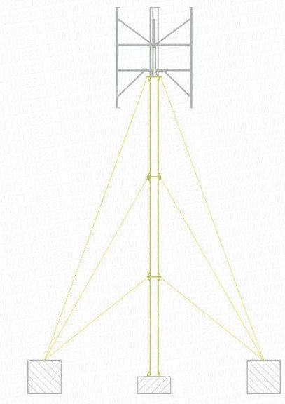 Steel mast with cable supports (9 meters)