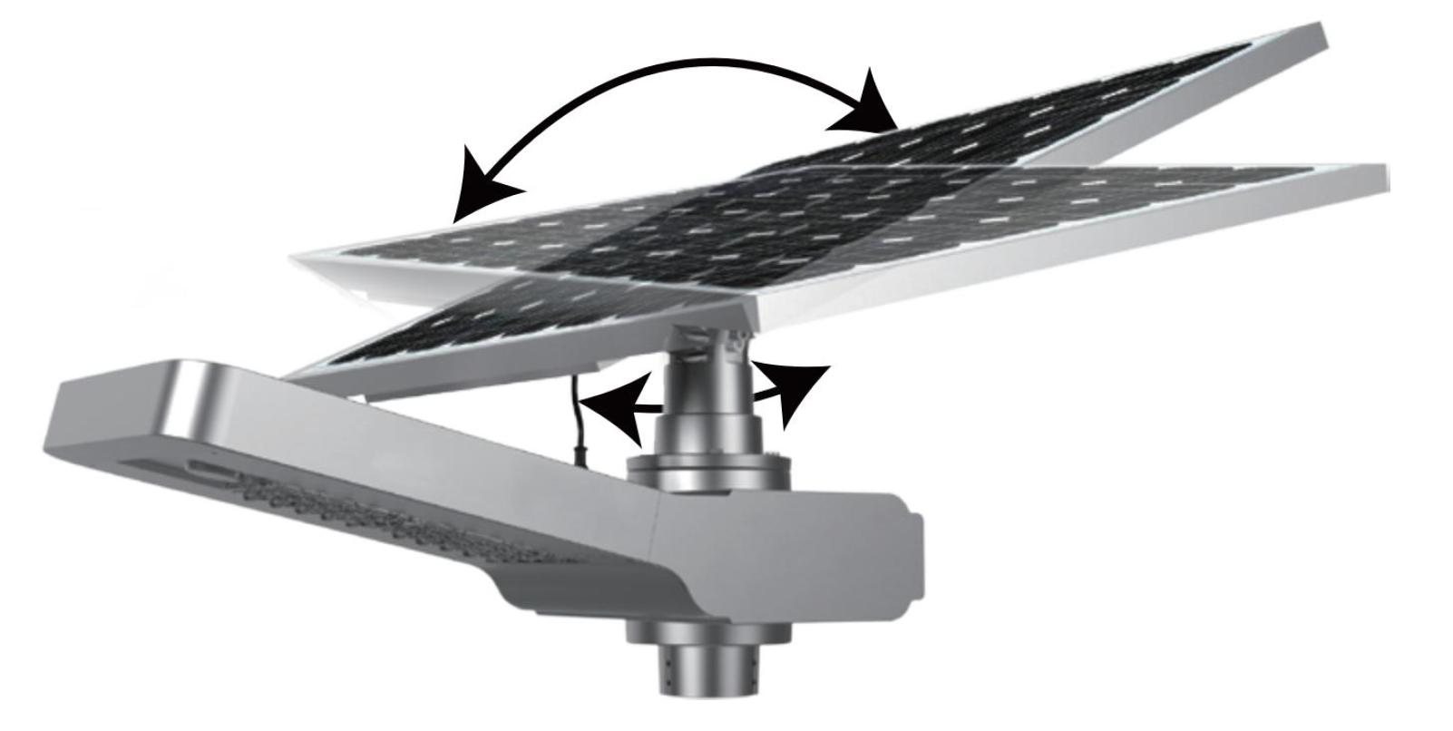 lampadaire avec panneau solaire inclinable et rotatif