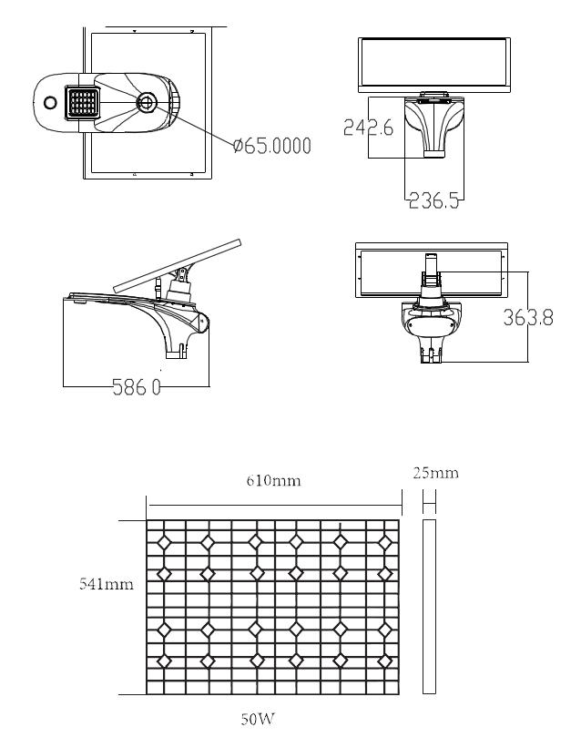 Dimensions schéma Eclairage de rue LED 15W