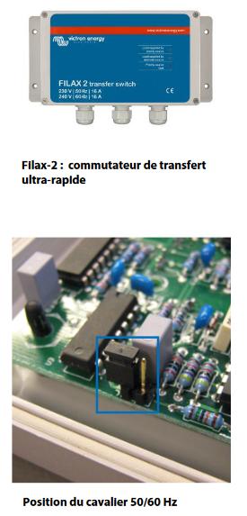 Commutateur de transfert ultra-rapide. Postion du cavalier 50/60Hz