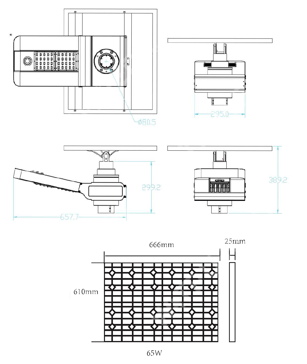 Dimensions of the solar spot and the photovoltaic panel