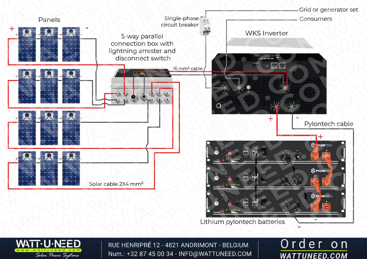 Self-consumption kit 12 panels 5kVA with lithium storage