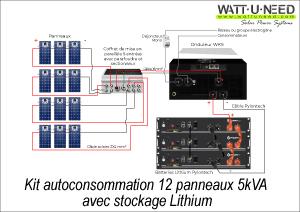 Kit autoconsommation 12 panneaux 5kVA avec stockage lithium
