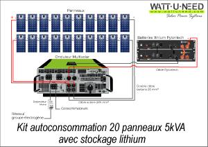 Kit autoconsommation 20 panneaux 5kVA stockage lithium