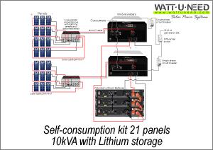 Self-consumption kit 21 panels 10 kVA with lithium storage