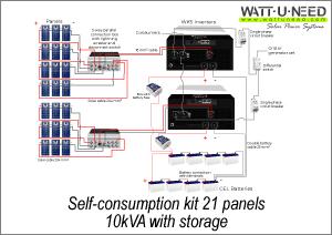 Self-consumption kit 21 panels 10kVA storage