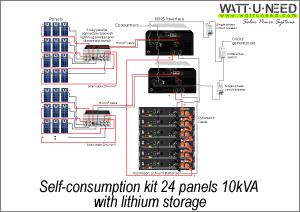 Self-consumption kit 24 panels 10kVA lithium storage