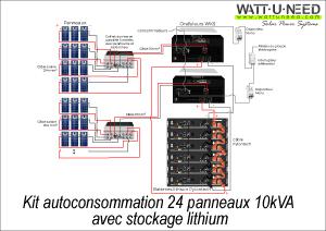 Kit autoconsommation 24 panneaux 10kVA stockage lithium