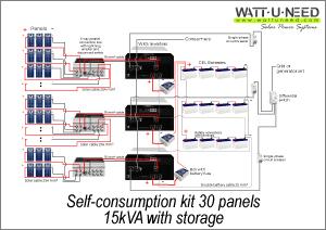 Self-consumption kit 30 panels 15kVA with storage