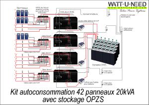 Kit autoconsommation 42 panneaux 20kVA avec stockage