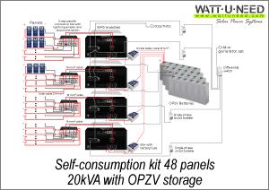 Self-consumption kit 48 panels 20kVA with storage