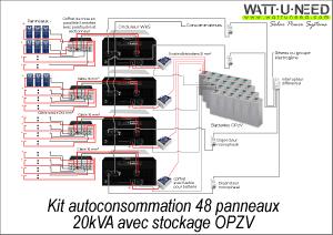 Kit autoconsommation 48 panneaux 20kVA avec stockage