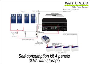 Self-consumption kit 4 panels 3kVA with storage