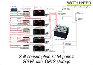Self-consumption kit 54 panels 25kVA with storage
