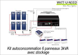 Kit autoconsommation 6 panneaux 3 kVA avec stockage