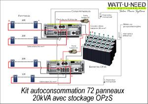 Kit autoconsommation 72 panneaux 20kVA avec stockage
