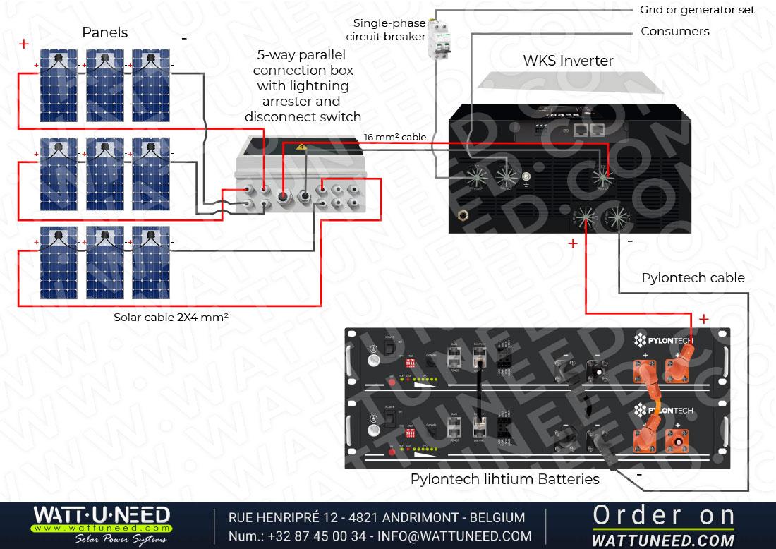 Self-consumption kit 9 panels 5kVA lithium