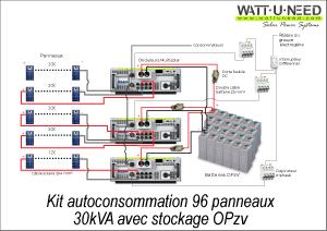 Kit autoconsommation 96 panneaux 30kVA avec stockage