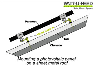 PV module setting up on a roof steel