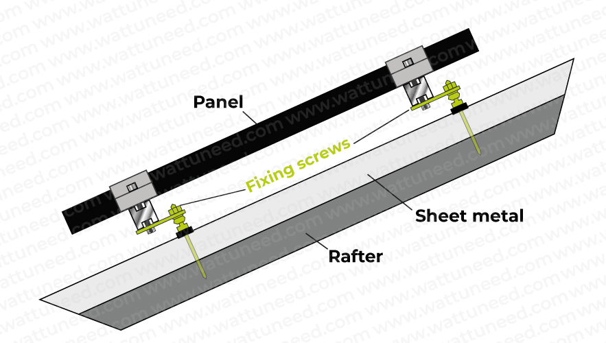 Mounting a photovoltaic panel on a sheet metal roof