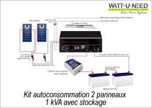Kit autoconsommation 2 panneaux 1kVA avec stockage