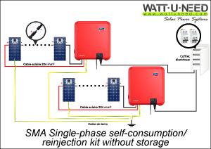 Schematic diagram for connection with two SMA Sunny Boy inverters