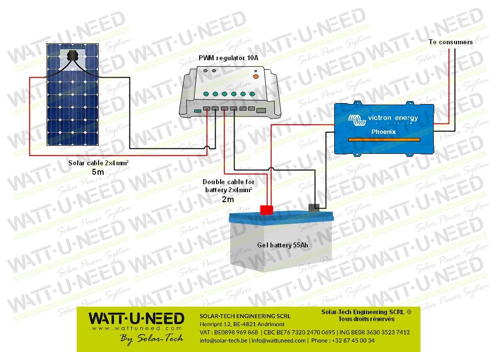 Système 100W 55Ah 250Va