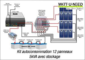 Kit autoconsommation 12 panneaux 5kva avec stockage
