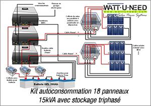 Kit autoconsommation 18 panneaux triphasé 15kVA avec stockage