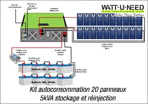 Kit autoconsommation 20 panneaux 5kVA stockage et réinjection